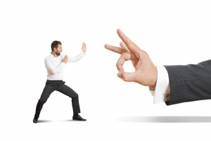 concept photo of conflict between subordinate and boss. angry yo