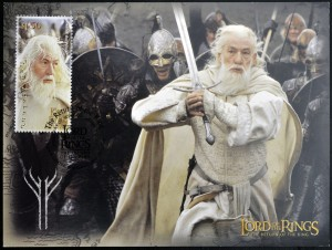 stamp printed in New Zealand shows Gandalf the White from The Lo